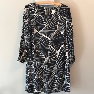 J crew black and white patterned dress